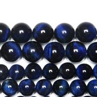 naturstein perlen blau großhandel-8mm Naturstein Blau Lapis Lazuli Tigerauge Achate Runde Lose Perlen 15