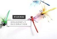 ingrosso carta da parati a colori-Carta da parati del manifesto dell'autoadesivo della parete della libellula 3D per la decorazione domestica della parete del sofà della decorazione della casa del multi colore