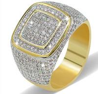 модный уличный хип-хоп оптовых-Новый дизайн Моды хип-хоп кольца горячие роскошные позолоченные полный алмазов ювелирные изделия мужские хип-хоп кольцо уличные аксессуары