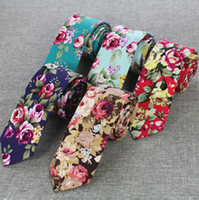Wholesale vintage skinny ties - 47 colors Vintage Men's Floral Neck Tie 6cm Cotton Casual Fashion Ties for Mens Wedding Party Flower Neckwear Tie