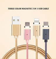 Wholesale Magnetic Charging Adapter - Micro USB Magnetic Cable 3 in 1 Type-c Lightning Data Sync Charger Adapter For iphone For Samsung Charging Cable