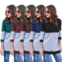 Wholesale splice round neck shirt - Women Long Sleeve Splice Sweater T-shirt Casual Splice Pullover Shirts Trench Top Shirt Blouse Sweaters Patchwork Tees OOA3966
