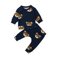 детские наборы оптовых-Newborn Toddler Infant Kids Baby Boy Clothes Bear Long Sleeve T shirt Tops+Long Pants Outfit Set