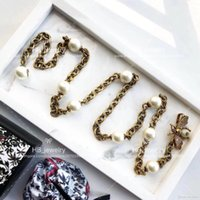 Wholesale white twisted pearl necklace - Popular fashion brand High version Bee necklace belt for lady Design Women Party Wedding Luxury Jewelry With for Bride
