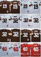 Wholesale baseball long sleeves - Retired Player 32 Jim Brown Jerseys Vintage 19 Bernie Kosar 40 Pat Tillman Jersey Long Sleeve Team Color Throwback Stitched Jersey