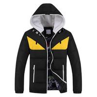chaleco amarillo al por mayor-Nueva moda invierno cálido hombres Parkas divertida chaqueta con capucha más el tamaño M-4XL Down Parka