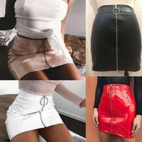 Wholesale Black Faux Leather Pleated Skirt - Women High Waist PU Leather Mini Skirt Plain Flared Pleated Skirt Short Sexy