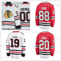 ingrosso patch blackhawks-88 Patrick Kane 19 Jonathan Toews 20 Brandon Saad 00 Clark Griswold 2018 Nuovi uomini Chicago Blackhawks hockey Jersey Toppe cucite logo