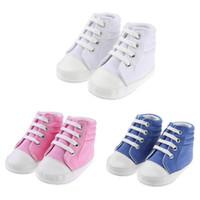sapatinhos de sapatinho de bebê venda por atacado-Sapatos de bebê Meninos Menina Alta Top Sapato Infantil Recém-Nascido Ocasional Da Lona Prewalker Crianças Botas Crianças Botas Lace-up Baby girl Sneaker
