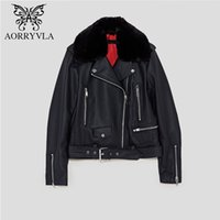 Wholesale motorcycle decorated resale online - AORRYVLA Women Faux Leather Jacket Autumn Fur Collar Belt Decorated PU Coat Full Sleeve Short Turn Down Motorcycle Jacket
