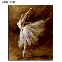 Wholesale Ballet Oil - PAINTBOY Framed Picture DIY Oil Painting By Numbers Ballet Girl DIY Digital Canvas Oil Painting Home Decor For Living Room G408