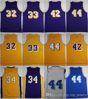 Wholesale cheap 42 - New Cheap 32 Jersey 33 Kareem Abdul Jabbar Abdul-Jabbar 42 Artest Worthy 44 Jerry West 34 Shaquille ONeal Size S-3XL