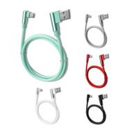 micro usb a la derecha al por mayor-90 grados de ángulo recto tipo C Cable micro USB Cargador de carga rápida Cable cable 1 m / 3 pies para Samsung HTC LG Huawei