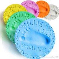 el kili toptan satış-DIY Çocuklar ayakizi Handprint Kil Hamuru Bebek Handprint Ayakizi çamur bebek Döküm ebeveyn-çocuk El Inkpad Keepsakes 24 renkler C3247