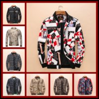 Wholesale wool long coats - 2018 Brand Designer Luxury Mens Jackets New Fashion Casual Printed Outerwear Coats Plus Size Black Red Sportswear Zipper Spring Autumn