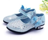Wholesale dress shoes for children - Fashion Girls Shoes Rhinestone Glitter Leather Shoes For Girls Spring Children Princess Shoes Pink Silver Golden