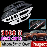 autocolantes internos do carro venda por atacado-Para Peugeot 3008 II Fibra De Carbono Interruptor Interruptor Da Janela Interna de Cromo de Alta Qualidade Acessórios Do Carro Adesivos 3008 GT 2017 2018