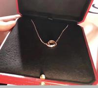 allumettes collier achat en gros de-2018 style luxueux S925 en argent sterling et nom de marque deux anneaux se connecter avec diamant collier pendentif pour les femmes boîte de nuit match cadeau j