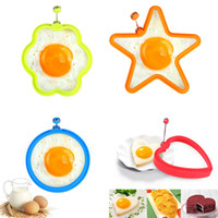 Wholesale Metal Star Shapes - Silicone egg frying Mold tools Heart star round Shape Mold Fried Egg Rings Pancakes Form Egg Tools BBA179
