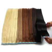Wholesale 16 packs human hair resale online - Tape In Human Hair Extensions Remy Unprocessed Can Be Bleached And Dyed Double Drown Thick Bottom Colors Optional g Pack