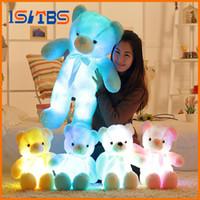 işıklı teddy toptan satış-30 cm 50 cm Renkli Parlayan Teddy Bear Aydınlık Peluş Oyuncaklar Kawaii Işık Up LED Teddy Bear Dolması Doll Çocuk Noel oyuncaklar