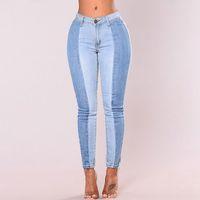 hellblaue sexy jeans großhandel-2018 Sexy Hellblaue Jeans Skinny Fashion Straight Casual Damen Jeans Große Größen Hohe Taille