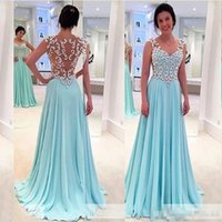 Wholesale Delicate Lace Evening Dress - Illusion Back Prom Dress Delicate Crystal Beaded Light Sky Blue Chiffon Special Occassion Evening Party Dresses Factory Custom Made Gown