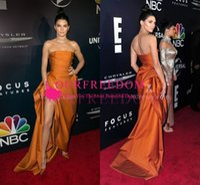 Wholesale Sexy After Dresses - Kendall Jenner Sexy Golden Yellow Slit Celebrity Dress Custom Made Golden Globes After Party Strapless Side Split Formal Evening Dresses