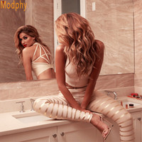 Wholesale xs gold bodycon dress - 2017 New 2 Two Piece Stunning Backless Khaki Chic Sexy Bodycon Women Gold Foil Stripes Pant Top Bandage Sets Dropshipping HL633