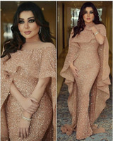Wholesale glue caps - 2018 Bling Mermaid Evening Gowns with Long Cape Glitter Glued Lace Illusion Arabic Middle East Custom Made Plus Size Trumpet Prom Dress