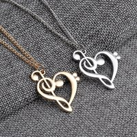 Wholesale Musical Note Necklace Silver - New arrival jewelry necklaces & pendants love musical note necklace pendant necklaces free shipping