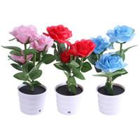 Wholesale Led Lights Flower Pot - Solar Rose Flower Lights LED Light Artificial Rose Pot with 3 Lights Flower Bonsai LED Light Lamp for Home Garden Room