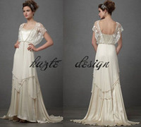 Wholesale Full Chiffon Skirt - Vintage 1920s Catherine Deane Lita Wedding Dresses with Sleeves 2018 Modest Fairy Lace Chiffon V-neck Full Length Bridal Wedding Gown
