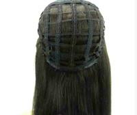 pelucas virgin half hair al por mayor-Pelucas de media cabeza de cabello humano caídas 3/4 peluca recta remy virginal del pelo humano pelucas sin cordón para afroamericano 4 colores