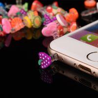 plugue de tomada de ouvido iphone venda por atacado-Venda por atacado - Anti Poeira plug Fruit Poeira Cap Para Iphone 5 4s Para 3.5mm Plug Phone