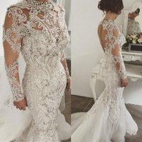 long perlé achat en gros de-Luxe strass sirène robes de mariée col haut dentelle appliques robes de mariée perlées manches longues robe de mariée en tulle robe de mariée