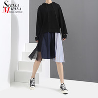 Wholesale Mesh Hem Dress - 2018 Women Spring Black Causal Hooded Dress Irregular Pleated Hem With Mesh Stitched Female Knee Length Streetwear Dresses 3258