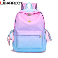 Wholesale cute backpack bags for women for sale - Group buy Cute Ribbons Backpack Female Simple Lovely Headphone Plug Backpack for Children Large Capacity Nylon School Bag for Girls