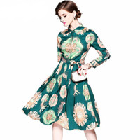 Wholesale gorgeous casual dresses - 2018 New arrival high quality luxury runway Women's Long Sleeve Gorgeous Print chic Dress