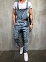 overalls skinny jeans für männer großhandel-Männer Jeans Overalls Paar Strap Denim-Hosen dünne männliche Art und Weise hiphop dünne übergroße lose beiläufige Denim-Hosen