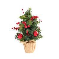 ingrosso bonsai trees-1pc piccolo albero di Natale da tavolo con base di tela da imballaggio albero di Natale decorazione albero bonsai decorazioni natalizie per la casa