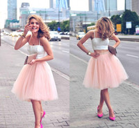 faldas completas hasta la rodilla al por mayor-Faldas de tul rosa perlas cortas para mujeres Cintura de satén Full Tutu esponjoso Longitud de la rodilla Faldas de fiesta formales Faldas de niñas midi Longitud