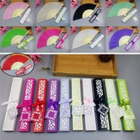 Wholesale Bamboo Silk Sheets - Chinese Personalized Luxurious Silk Fold Hand Fan Solid Candy Color Elegant Bamboo Fans Laser-Cut Gift Box Party Wedding Favors Gifts DHL