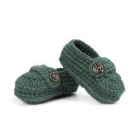 botas de crochê meninos venda por atacado-Moda Fivela Baby Boy Sapatos Artesanais Knitting Crochet Booties Baratos Sapatos de Crochê Do Bebê 10 cm 5 pares / 10 pcs