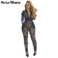 Wholesale Sexy Leotards For Women - Floral black lace sequin see through sexy jumpsuits for women 2017 fall leotard bandage rompers rhinestone bodysuit D41-AF79