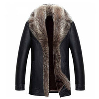 Mens Winter Coat Leather Jacket Real Raccoon Fur Collar Inside Outwear Overcoat Warm Thickening Tops Plus Size 4XL 5XL 2021