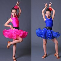Wholesale professional latin women costumes online - Girls Blue Red Professional Latin dancing dress Kids Ballroom Salsa Dance wear Outfits Children s Party Stage wear costumes