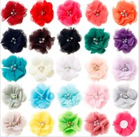 Wholesale High Quality Chiffon Fabric - High quality artificial flower heads Children's headdress 6CM chiffon hand-stitched fabric hair clips headband diy craft flower