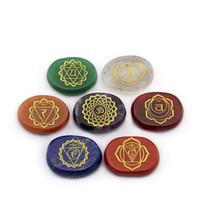 çakıl rengi toptan satış-7 adet / takım Doğal Kristal Reiki Çakralar Şifa Taşlar Çok Renkli Akik Hindistan 7 Çakra Taş Ve Mineraller Sanat ve El Sanatları CCA9708 10 takım