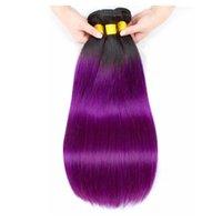 saç uzantıları fırsatlar toptan satış-İki Ton 1B / Mor Düz İnsan Saç Dokuma 3/4 Demetleri Toptan Renkli Brezilyalı Ombre Virgin İnsan Saç Uzatma Fiyatları